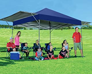 MASTERCANOPY Pop Up Canopy Tent 10x17 FT Instant Canopy with Adjustable Dual Half Awnings to Creat 170 Square feet of Shade Coverage; Sandbags,x4,Tent Stakes x8 (Navy Blue)