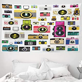ABAKUHAUS Vintage Tapiz de Pared y Cubrecama Suave Cámaras Fotográficas Vintage Antiguas Pasatiempo Artístico Tema Estudio Diseño Material Resistente 230 x 140 cm Multicolor