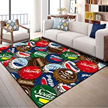 Area Rug - Hardwearing Polyester Carpet - Cozy/Easy to Manage/Low Short Pile Living Room Area Bedroom Hallway Rugs Compute...