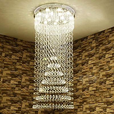 H.yina lámpara de araña Escalera de Caracol Lámpara de Cristal, Piso dúplex Edificio Villa Sala de Estar Grande Iluminación de lámpara LED (Tamaño: 8 Luces / 60 * 60 * 169 cm): Amazon.es: Hogar