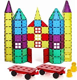 Magnetic Stick N Stack 120 Piece Classic Set with 2 Car Bases Magnetic Tiles 3D Construction Building Blocks Award Winning STEM Educational Classic Set with Car Bases, Windows, Doors, Accessories for