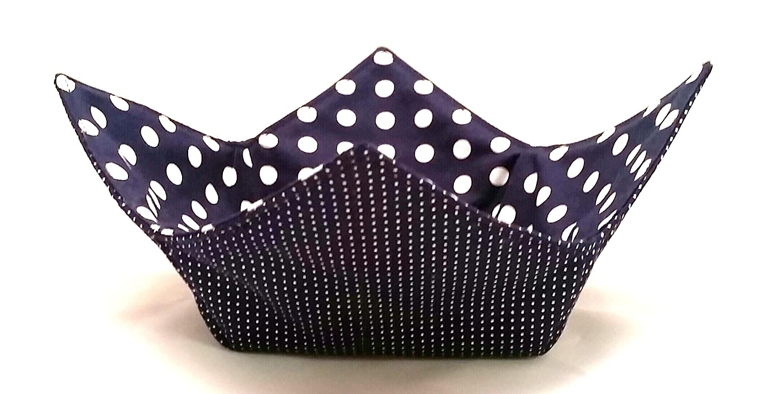 Microwave Bowl Cozy Max 82% OFF Our shop most popular 12 Inch Blue WhiteDots Navy Handm Reversible