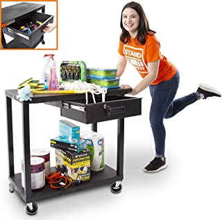 Original Tubstr Flat Top Utility Cart with Locking Drawer - Two Shelf Heavy Duty Cart Supports up to 400 lbs - Multipurpose Tool Cart for Garage, Warehouse and More (Black / 35 in x 18 in)