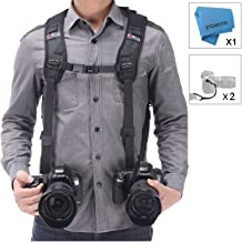 Camera Shoulder Double Strap Harness Quick Release Adjustable Dual Camera Tether Strap..