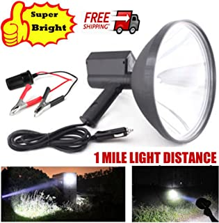 100W Handheld HID Spotlight 9 Inch 12V Xenon Hunting Lamps 8000 Lumens Super Bright 1 Mile Long Lighting Distance + Battery Conversion Clamps for Fishing Boating Camping Driving Searchlight