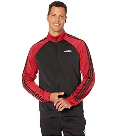 adidas Essentials 3-Stripe Color Block Track Top (Black/Active Maroon/Black) Men