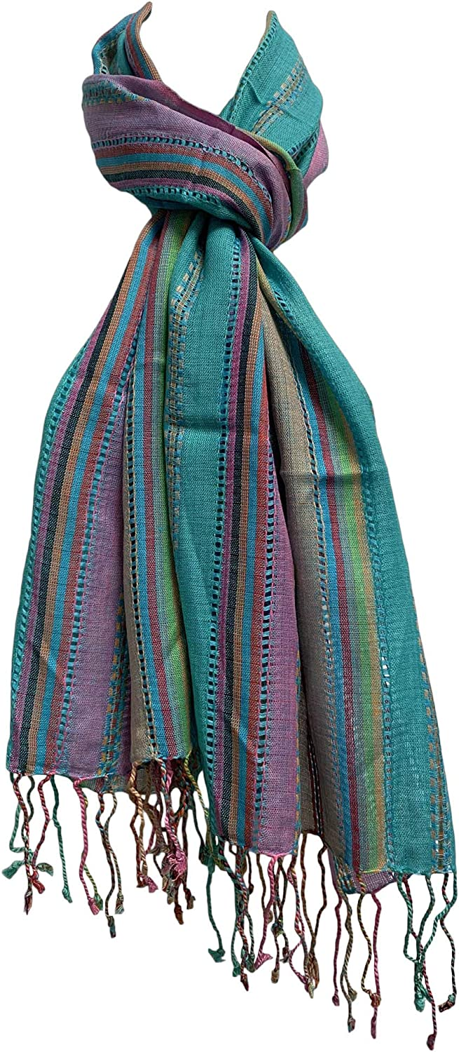 Indian Ethnic Multicolor Striped Woven Cotton Long Fashion Scarf JK469