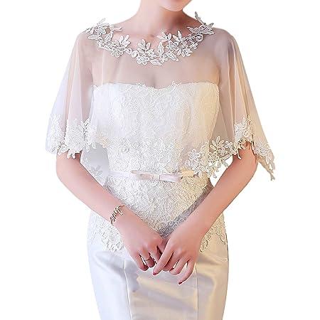 CHIC DIARY Elegant Brautkleid Umhang Spitze Tüll Cape Retro Lace Stola Boleros für Abendkleid Cocktaikleid