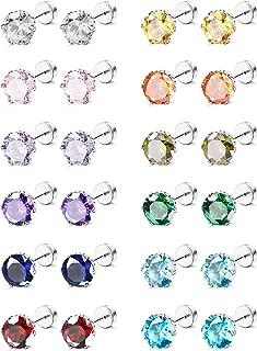 CZ Stud Earrings for Women Men Stainless Steel Cubic Zirconia Screwback Earrings Set