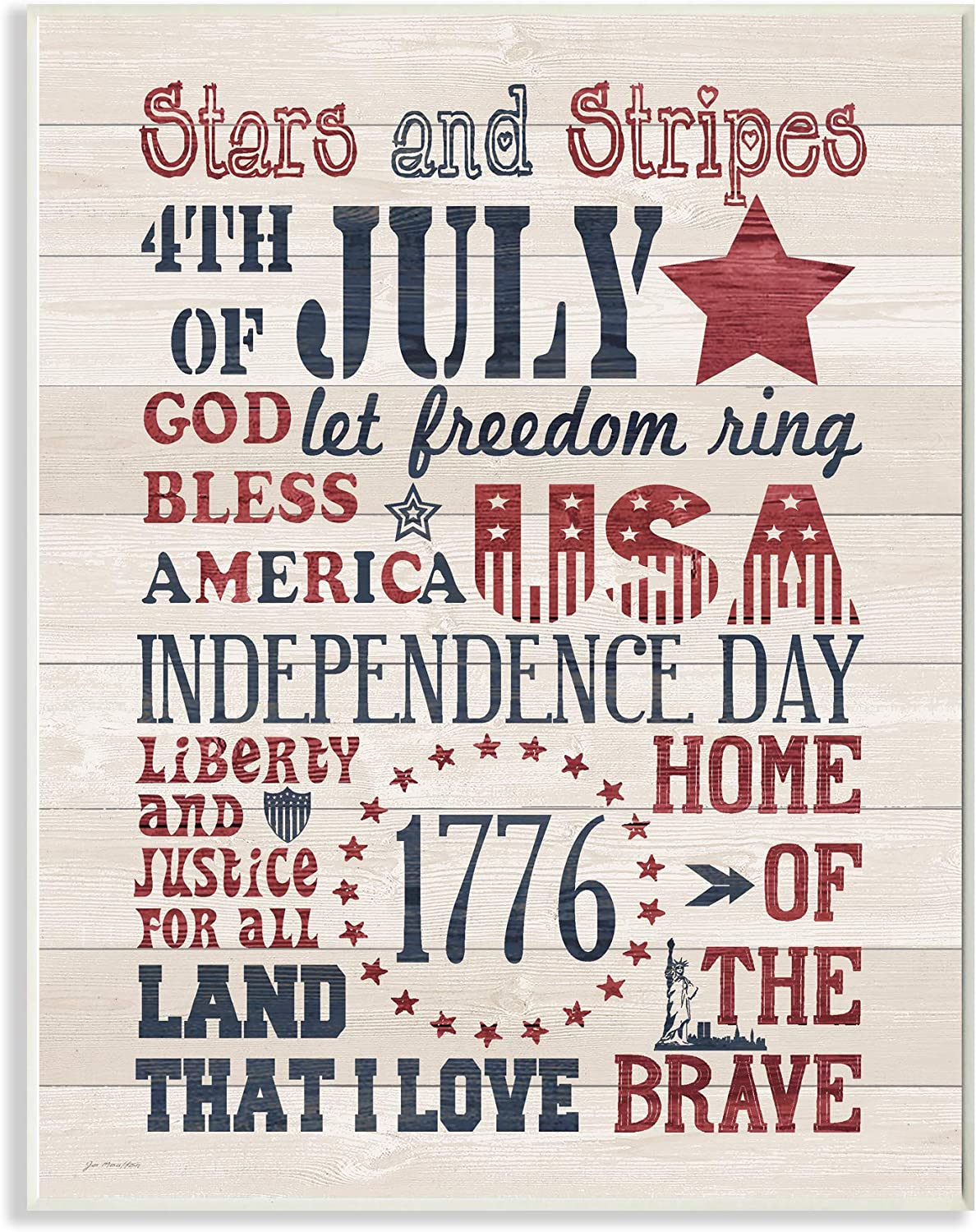 The Stupell Home Decor Stars and Stripes USA Stenciled Typography Rustic Planked Look Sign Wall Plaque Art 12x18 Multi-color