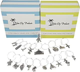 Two Unique Wine Charm Sets - 20 Pieces Total, Beach and World Traveler Themes