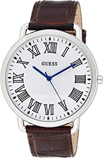 GUESS Mens Quartz Watch, Analog Display and Leather Strap - W1164G1