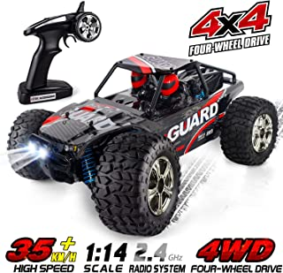 RC Car for Adults and Kids, HisHerToy Remote Control Truck, 4WD 2.4 GHz 35km/h High Speed All Terrain RC Car with 2 Headlights, Rechargeable Remote Control Car for Boys Girls Xmas Toy Car