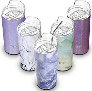 Stainless Steel Insulated Skinny Tumbler - THILY 16 oz Travel Cup with Splash-proof Lid and Reusable Straw, Keep Cold for Ice Water, Coffee, Juice, Drinks, Blue Marble
