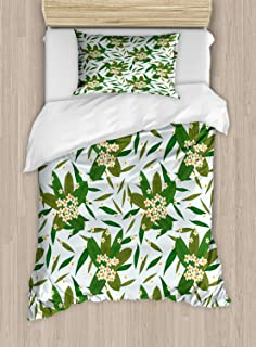 Lunarable Floral Duvet Cover Set, Rhythmic Exotic Plumeria Flowers and Leaves Print, Decorative 2 Piece Bedding Set with 1 Pillow Sham, Twin Size, Baby Blue Olive Green Fern Green Vermilion