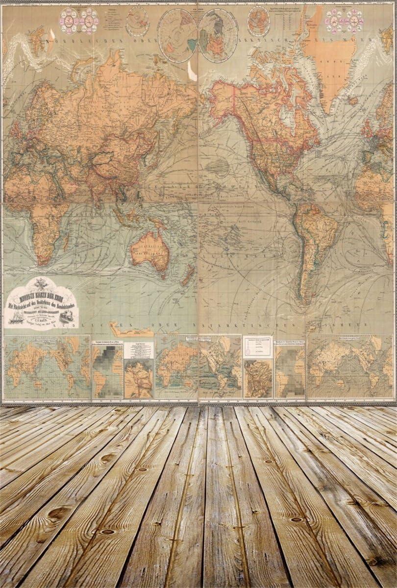 8x6.5ft Navigation Theme Backdrop Vinyl Vintage Parchment World Map Grimy Map Photography Background Nostalgic Nautical Style Child Kid Adult Portrait Shoot Wallpaper Studio Props
