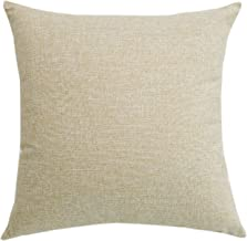 SUNOOMY Décor Soft Solid Linen Square Throw Pillow Case Cushion Covers Sofa Couch Bed Chair,Natural Linen,24x24(60cm)