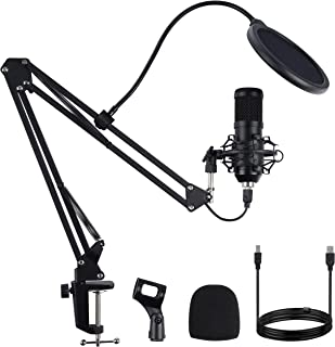 USB Streaming Microphone, FYP Professional Condenser Microphone Set with Adjustable Scissor Arm Stand Shock Mount Computer Mic for Gaming, Chatting, Studio Recording, Dubbing, Podcasting (Black) …
