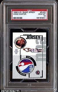 1998-99 UD Game Jersey Vince Carter Rookie RC Logoman Bottom 10 GEM MINT - PSA/DNA Certified - Basketball Game Used Cards