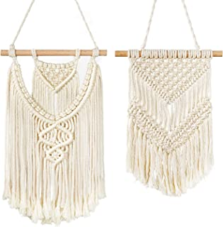 TIMEYARD 2 Pcs Macrame Wall Hanging Small Art Woven Tapestry Boho Chic Home Decor Apartment Dorm Room Decoration