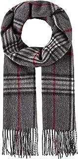 Bufanda clásica - de lana y cachemira - de cuadros - con flecos