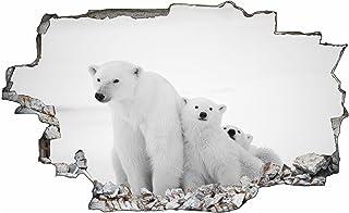 Eisbär Bullauge Wandaufkleber 3D Tier Wandtattoo Kinderzimmer Bad Dekor