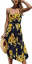 Angashion Women's Dresses-Summer Floral Bohemian Spaghetti Strap Button Down Swing Midi Dress with Pockets