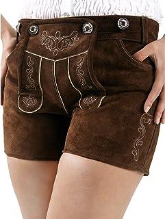 Almbock Trachtenlederhose Damen kurz oder extra-kurz - Viele Modelle in versch. Farben von Gr. 34-42 - Ziegen-Leder, Rinds-Leder, Büffel-Leder, Nappa-Leder, Wildleder