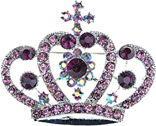 f94f5c9e43c Alilang Amethyst Purple Multi-Colored Crystal Rhinestone Royal Princess  Queen Crown Brooch Pin