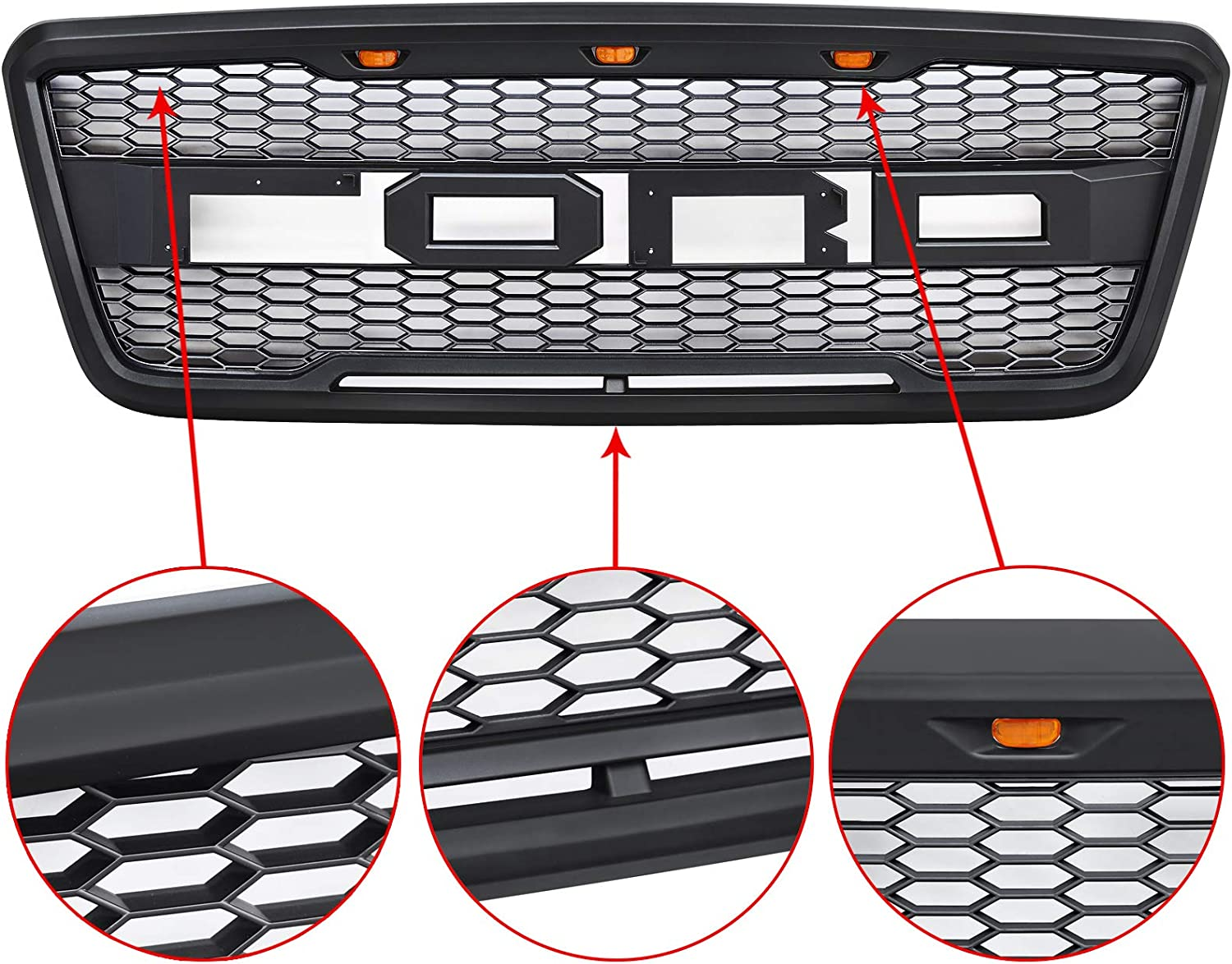 Front Grille Compatible with Ford F150 Black Including XL XLT Lightning King Ranch and Limited 2004 2005 2006 2007 2008 w//Letters ALL4ROLL Raptor Grill Fit for F150 2004-2008