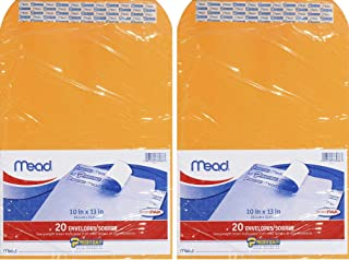 Mead Press-It Seal-It Envelopes, 10 x 13 Inches, Office Pack 20 Count (76088), Brown (2 Pack of 20)