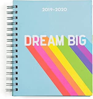 """2019-2020 Eccolo Spiral Agenda Planner, Rainbow """"Dream Big"""", Hardcover, Weekly & Monthly Views, 18 Months, Sticker Sheets, Full Color Graphics and Quotes. 7.25 x 8.75"""