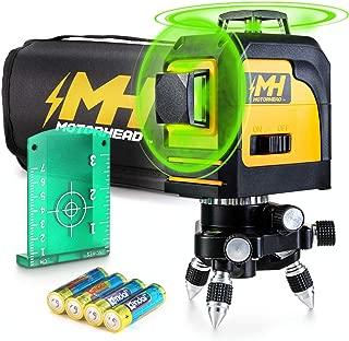 MOTORHEAD 165-Ft Self-Leveling 360-Degree Green Cross-Line Laser Level, Switchable Horizontal & Vertical Beams, IP 54, Pulse Mode w/Leveling Mini-Tripod, Batteries, Magnetic Target & Storage Bag