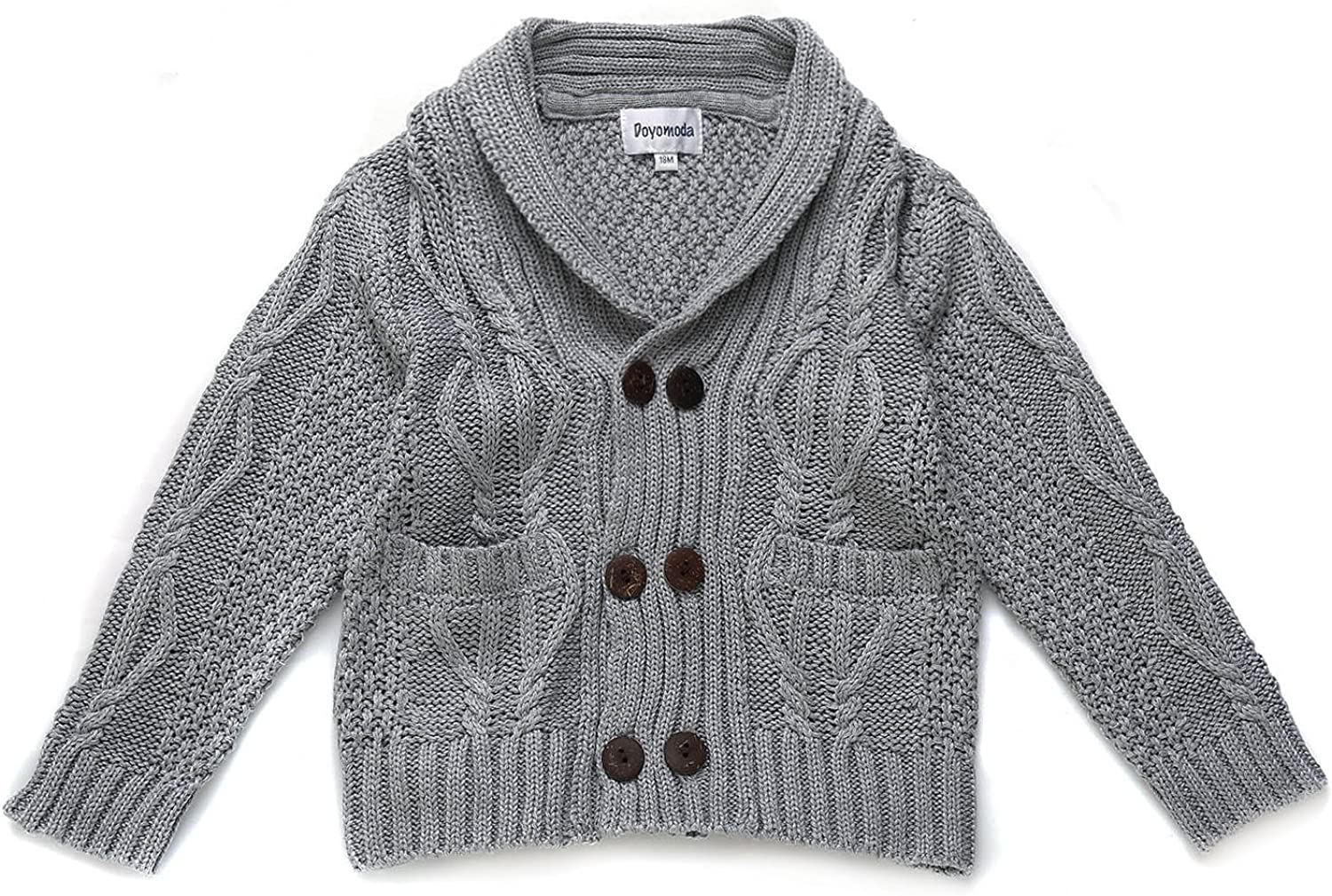 DOYOMODA Baby Boys 100/% Cotton Cable Knit Cardigan Toddler Shawl Collar Sweater
