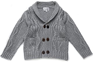 DOYOMODA Baby Boys 100% Cotton Cable Knit Cardigan Toddler Shawl Collar Sweater