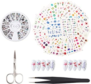 NICENEEDED Nail Decoration Set Supplies With 24 Pcs Nail Flower Water Transfer Decals 1 Box Crystal Ab Rhinestones With 1 ...