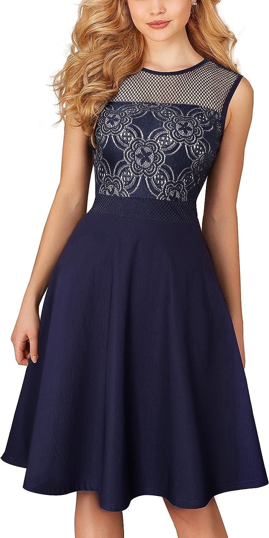 HOMEYEE Women's Elegant Sleeveless Mesh Lace Cocktail Dress A078