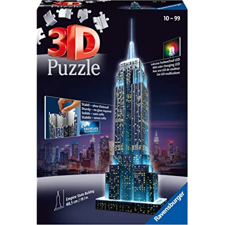 Ravensburger 12566 1–Empire State Building Night Edition Puzzle, multicolore