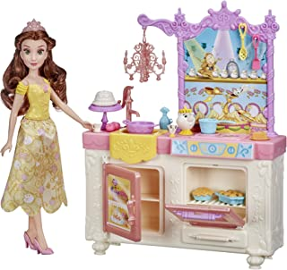 Disney Princess Belle's Royal Kitchen, Fashion Doll and Playset with 13 Accessories, Mrs. Potts, and Chip, Toy for Girls 3...