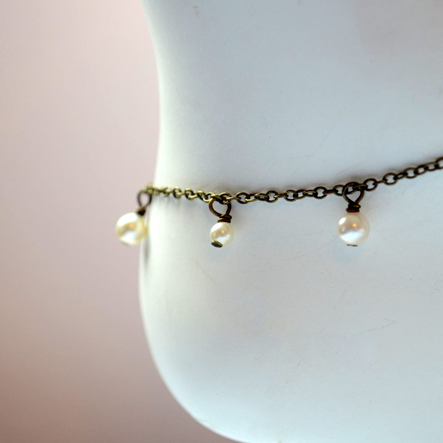 Sales for sale Swarovski Pearl Anklet with Antiqued Online limited product Brass Chain