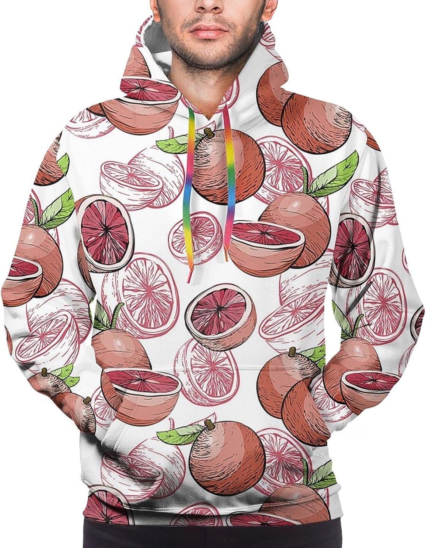 Hoodie For Teens Boys Girls Pink Grapefruit Double-Sided 3d Sweatshirt Hoodie