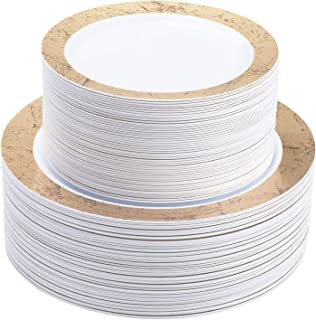 Select Settings 100 pc. Disposable Plastic Plates Includes 50 Dinner Plates & 50 Salad Plates Disposable Plate Combo Sets (Marble Design Gold Plates)