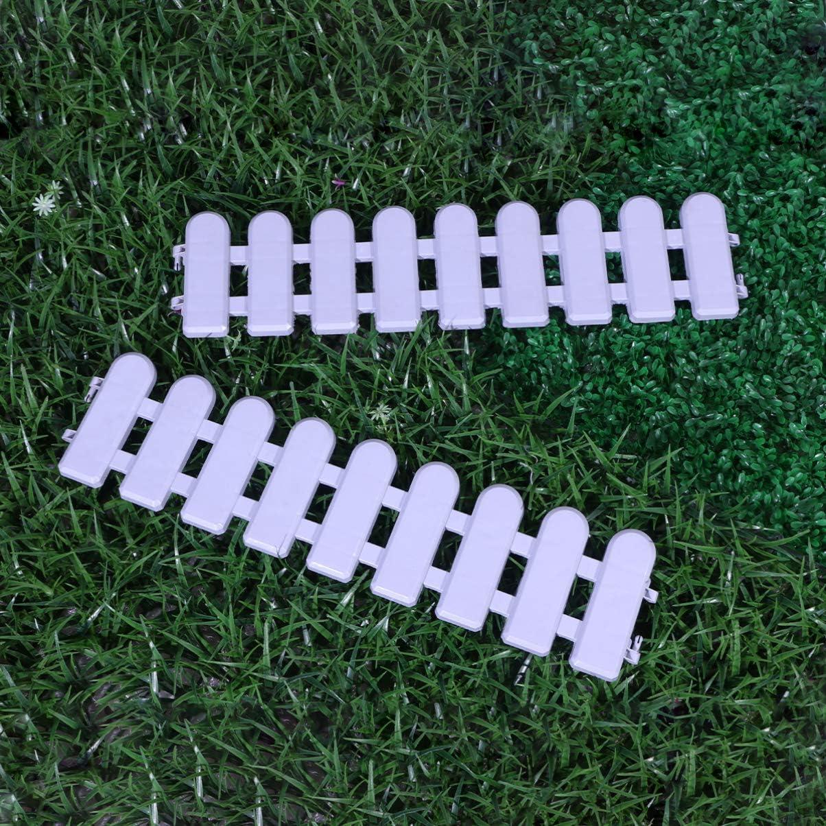 Blanco NICEXMAS 2 Piezas Miniatura Jard/ín de Hadas Valla de Pl/ástico Jard/ín de Hadas Casa de Mu/ñecas Decoraci/ón del Paisaje