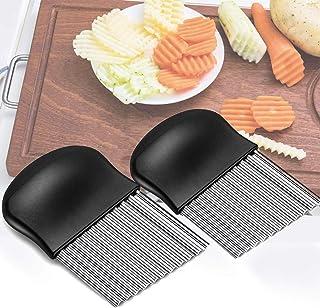 Couteaux de pommes de terre multifonctions en acier inoxydable, 2 lames ondulées en acier inoxydable pour couper les pomme...