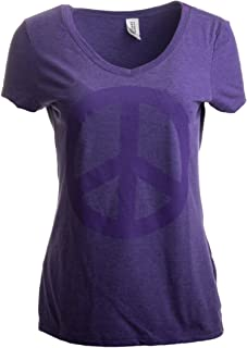 Peace Sign | Cute, Cool Retro Hippy Positive Happy Yoga Fun V-Neck Women T-Shirt