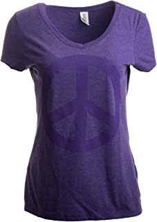 Peace Sign | Cute, Cool Retro Hippy Positive Happy Yoga V-Neck T-Shirt for Women