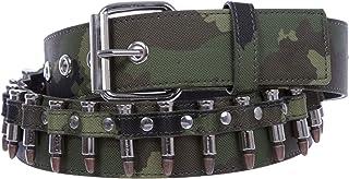 "1 1/2"" Snap on Bullet Hardware Stitching-edged Camouflage Canvas Studded Belt"