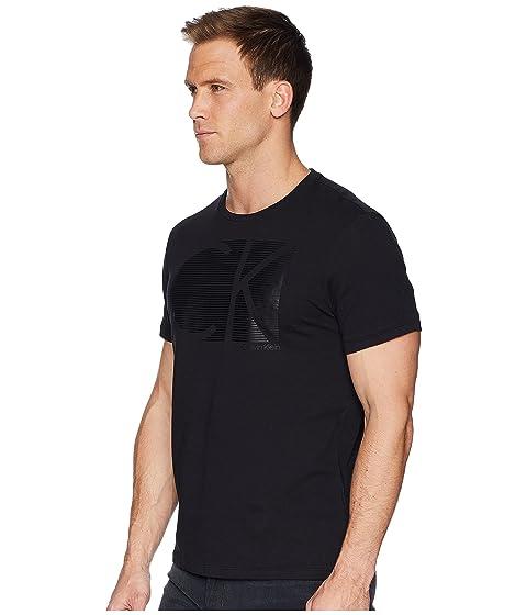 negro manga camiseta Klein a CK de rayas en logo corta con Calvin wU1xnPZqnS