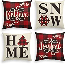AVOIN Buffalo Plaid Believe Joyful Home Snow Throw Pillow Cover, 18 x 18 Inch Christmas Winter Holiday Snowflake Cushion C...