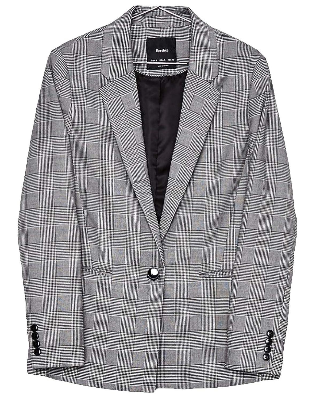 テーラードジャケット レデイース ショート丈 チェック柄 コート ワンボタン アウター カジュアル ゆったり スプリングコート